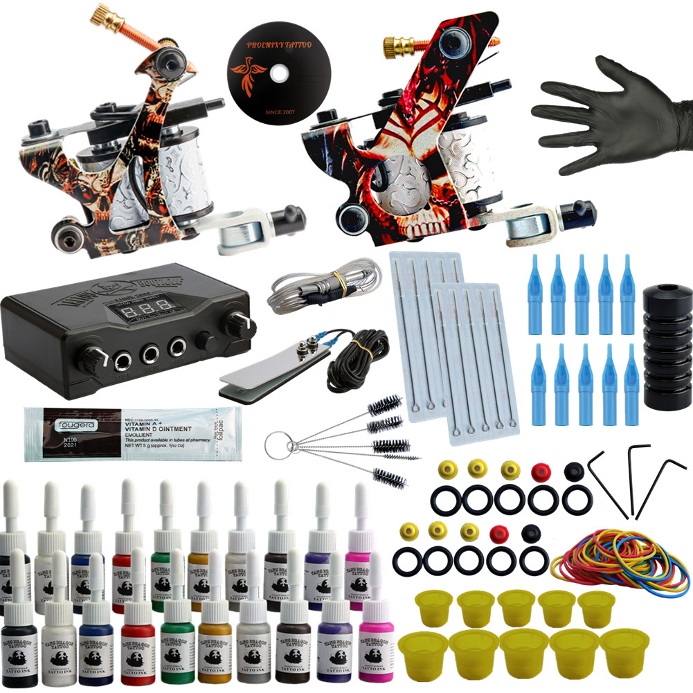 Professional Tattoo Kit Tattoo Machine Kit Rotary Machine Guns 20 Inks Set Power Supply Complete Tattoo Set For Starter Beginner itatoo tattoo kit cheap beginner coil tattoo machine set kit tattoo ink rotary machine 2 gun liner supply professional tk1000005 page 4