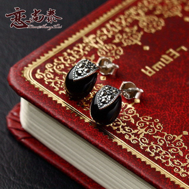 925 Sterling Silver women Jewelry Natural semi-precious stone black agate Onyx Retro stud earrings fashion lady girlfriend gift