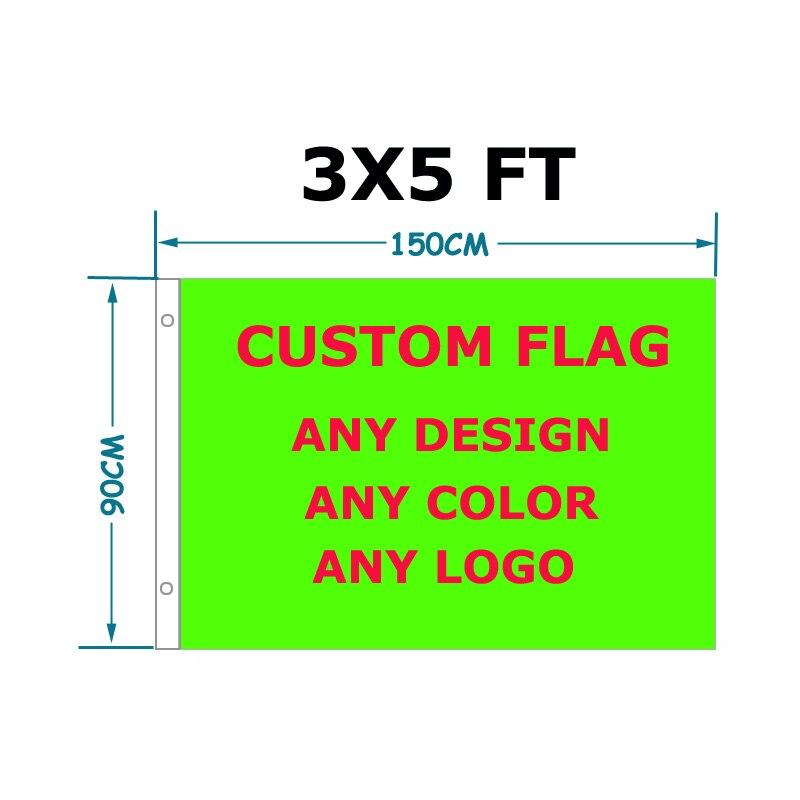 Bandeira feita sob encomenda 90*150cm sua bandeira do design com ilhós brancos do metal da luva