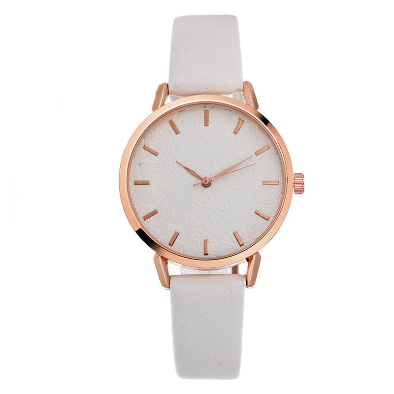 Top Style Fashion Women's Luxury Leather Band Analog Quartz WristWatch Golden Ladies Watch Women Dress Reloj Mujer white Clock