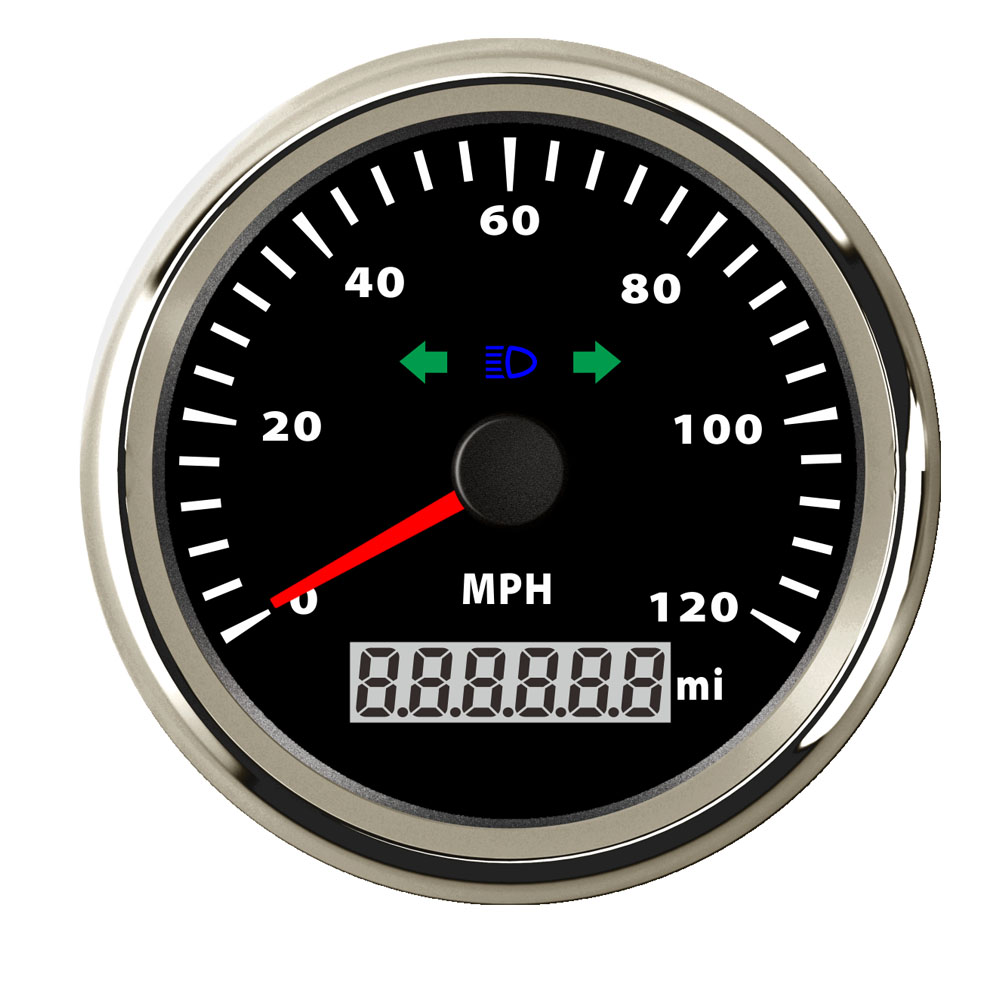85mm Motorcycle GPS Speedometer Gauge 120km/h Digital GPS Speedometer Odometer with High Beam Indication fit Motor Car Boat 100% brand new gps speedometer 60knots for auto boat with gps antenna white color