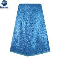 Latest French Lace Bridal Fabric For Nigeria Party French Lace Fabrics With Sequins Wedding Dress French Lace FL0099