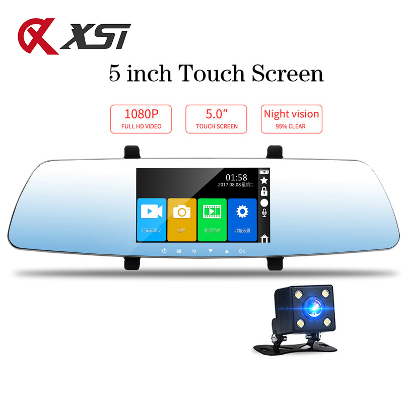 XST Full HD 1080P 5 inch Dash Cam DVR Dash Camera Rearview Mirror Touch Screen Dual