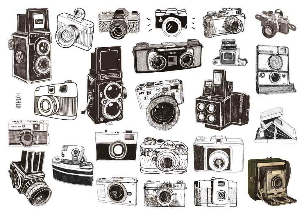 Vintage Uncut A5 Hand Painted Camera Creative Decorative Stationery Stickers Scrapbooking DIY Diary Album Stick Lable