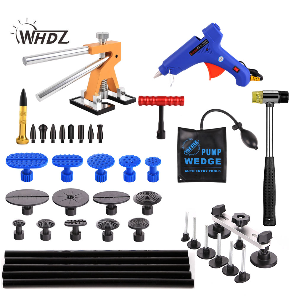 WHDZ PDR Tools Paintless Dent Repair Tools Dent Removal Dent Puller Tabs Dent Lifter Hand Tool Set PDR Tool kit pdr tools to remove dents car dent repair paintelss dent removal puller kit lifter removal glue tabs fungi sucker hand tool set