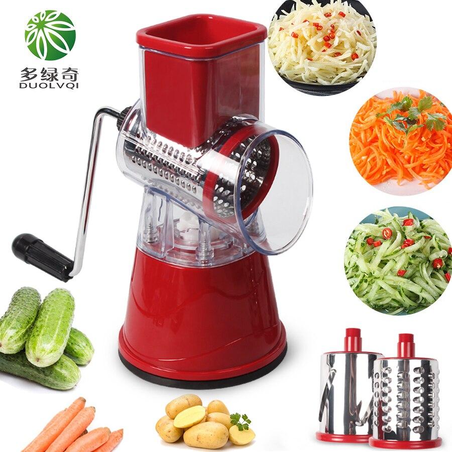 Купить с кэшбэком DUOLVQI Manual Vegetable Cutter Slicer Kitchen Accessories Multifunctional Round Mandoline Slicer Potato Cheese Kitchen Gadgets