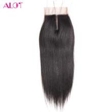 """Много волос 8 """"до 18"""" Человеческие волосы Синтетическое закрытие шнурка волос Бразильский прямые волосы-Реми средняя часть Накладные волосы с ребенком волос Бесплатная доставка"""