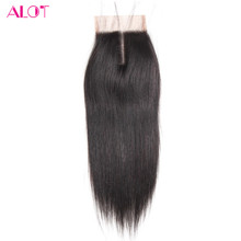 ALot Hair 8″ to 18″ Human Hair Lace Closure Brazilian Straight Hair Non-Remy middle part closure 100% Human Hair Shipping Free