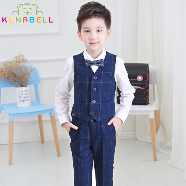 2017 Brand Flower Boys Vest Pant Shirt Blazer Waistcoat Set Kids Tuxedo Suit Baby Wedding Birthday