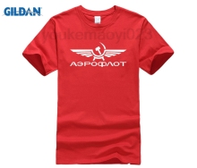 GILDAN Aeroflot AIRFORCE RUSSIAN RUSSIA CCCP T-shirt Top Lycra Cotton Men T shirt