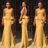 Sexy One Shoulder Long Mermaid Yellow Prom Dresses 2017 Ruffles Sweep Train Evening Party Gown Robe