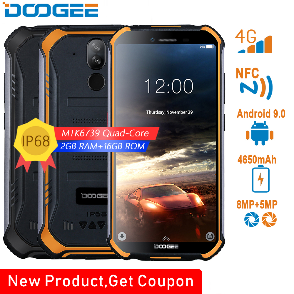 DOOGEE S40 4 3gnetwork MT6739 Rugged Mobile Phone 5.5 polegada Display 4650mAh Quad Core 32 3GB RAM GB ROM Android 9.0 8.0MP IP68/IP69K