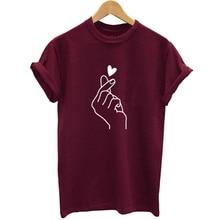 Новое поступление, женская футболка с графическим принтом «рука любви», забавные летние топы, футболка, Женская хипстерская футболка