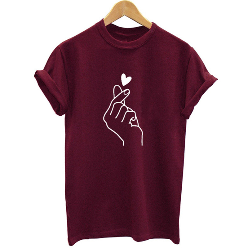 New Arrival Women T Shirt Graphic Love Hand Funny Summer Tops Tee Shirt Femme Hipster Tshirt