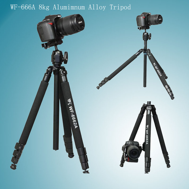 Weifeng WF-6662A Professional Alumimnum Magnesium Alloy Tripod / DSLR Digital Camera Tripod With Ball Head +Carrying Bag