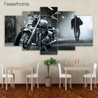 5 Piece Canvas Painting Heavy Motorcycle HD Posters And Prints Canvas Painting For Living Room Free