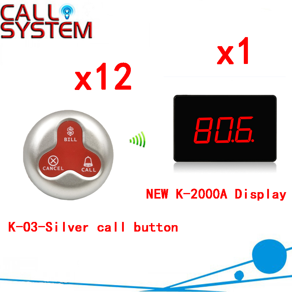 Wireless Service Calling System For Restaurants/Waiter With CE / Hotel With Ycall Brand( 1 display+12 call button) wireless call system for nursing home for quick service with personalized cann button and led display hot sale shipping free