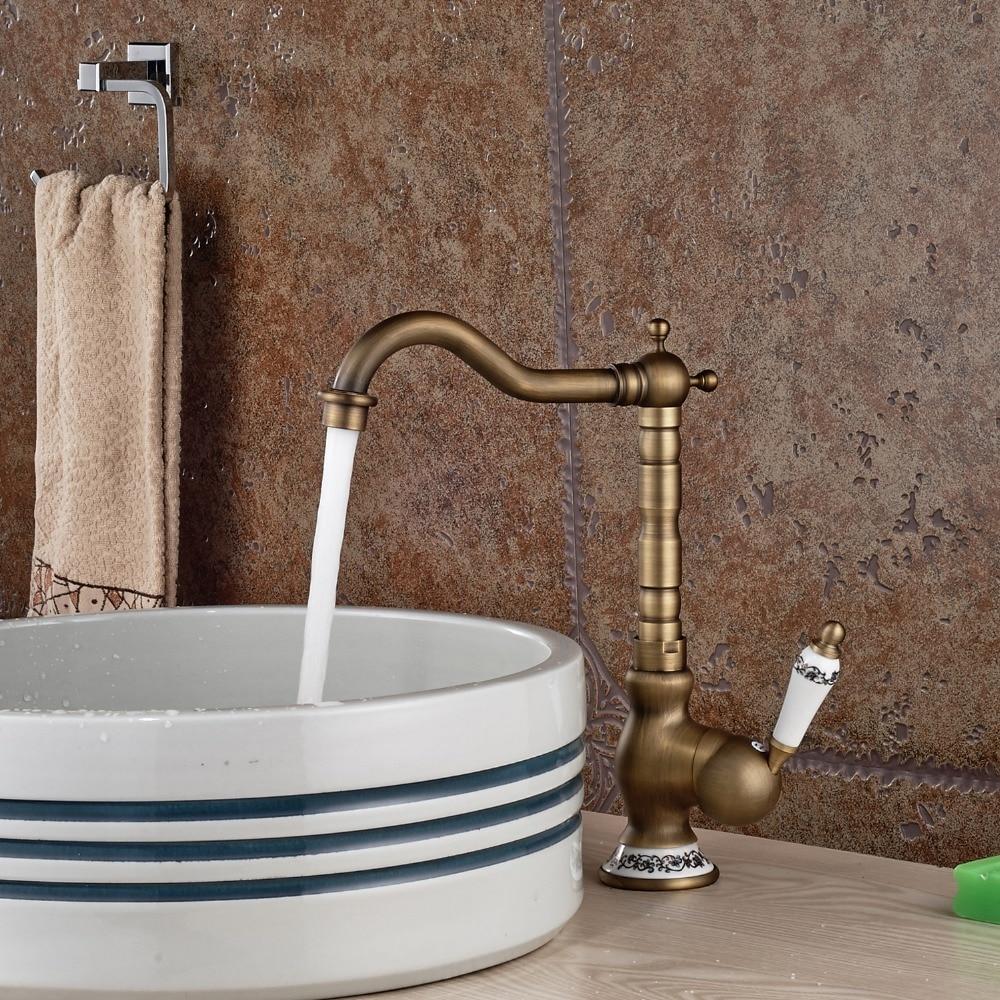 Antique Brass Single Hole Swivel Spout Bathroom Sink ...