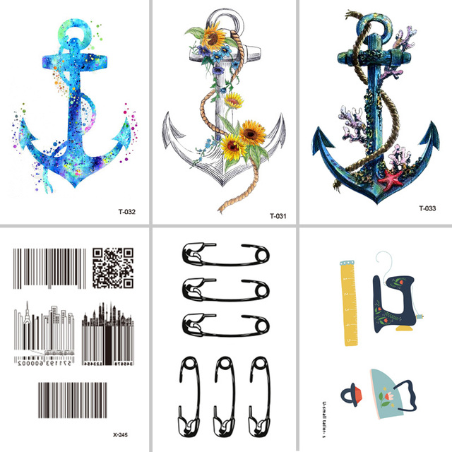 Wyuen Diseño Ancla Etiquetas Engomadas Temporales Impermeables Del
