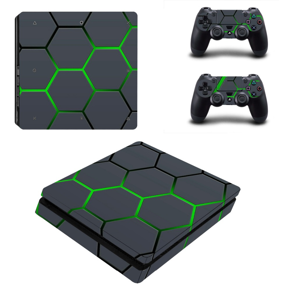 PS4 Slim Vinyl Skin Sticker Decal Cover for PS4 Slim Playstation 4 Slim System Console and Controllers image