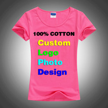 Slim Sexy Custom Logo photo Text Printed Female Women T shirt Summer Cool Basic Lady T-shirts Tops Short Sleeve Tees Femme Shirt(China)