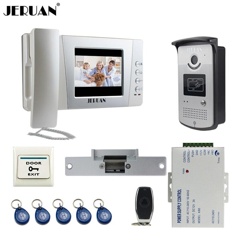 JERUAN Home wired 4.3 inch Video Door Phone Entry intercom System Kit +700TVL RFID Waterproof IR Night vision Camera +power
