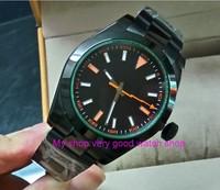 Sapphire crystal 40mm PARNIS zwarte wijzerplaat Aziatische Automatische Self-Wind beweging heren horloge PVD case Mechanische Horloges 148A