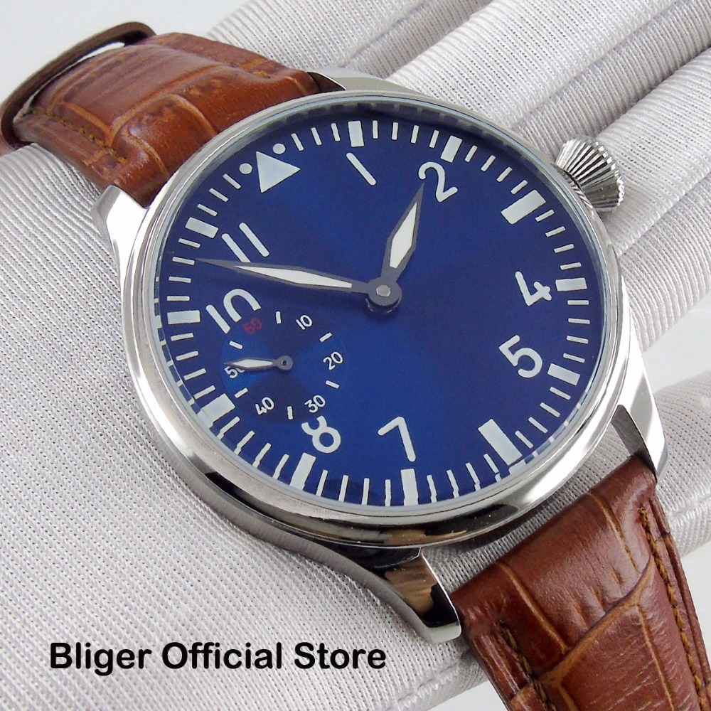 44MM Hand Winding Mens Watch Blue Sterile Dial Polished Stainless Steel Case 6497 Movement Leather Strap44MM Hand Winding Mens Watch Blue Sterile Dial Polished Stainless Steel Case 6497 Movement Leather Strap