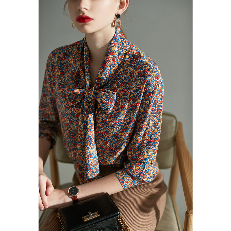 Women Floral Print Silk Blouse Long Sleeve Colorful Bow Neck Office Lady Shirt Top
