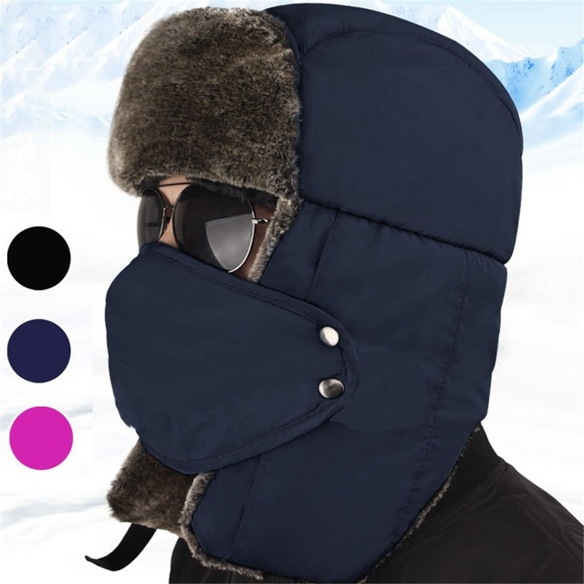 fa1fdb53408 W Outdoor Hiking Caps Winter Thermal Trapper Hat Ushanka Russian Style Hat  With Ear Flap Chin Strap and Windproof Mask