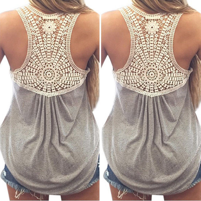 b1e1559440f9f 2016 Summer New Fashion Womens Striped Tank top Sexy Lace tops Crochet Back  Hollow-out Woman Vest Camisole Casual Tank Tops