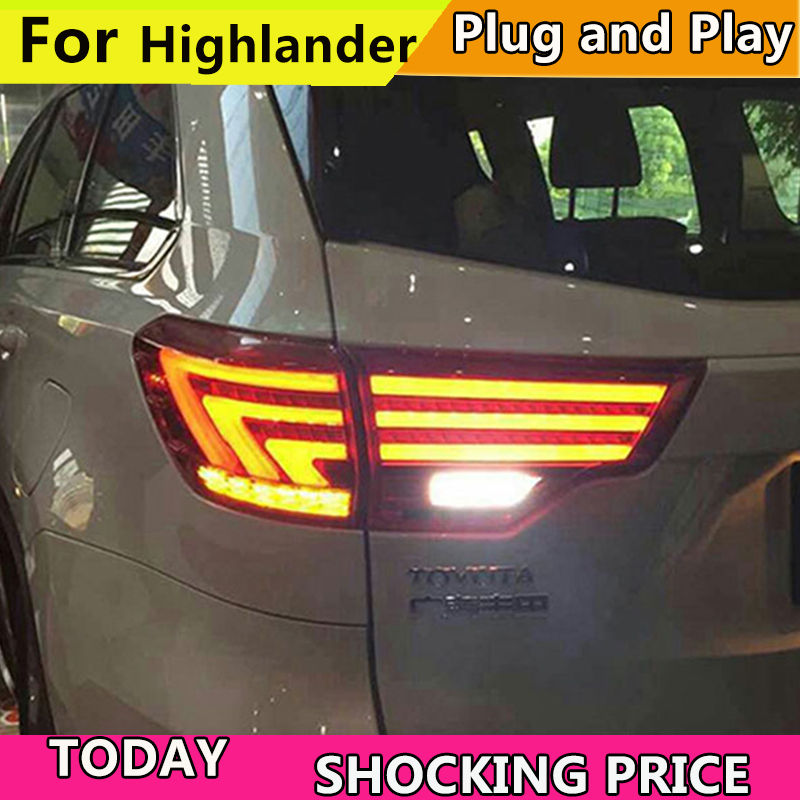 Car Styling tail lamp for toyota Highlander Taillights 2015-2019 Kluger Tail Lamp Lexus Type Rear Lamp DRL+Brake+Park+SignalCar Styling tail lamp for toyota Highlander Taillights 2015-2019 Kluger Tail Lamp Lexus Type Rear Lamp DRL+Brake+Park+Signal