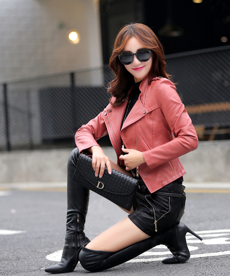 Motocycle   Leather   jacket Women Fashion   Leather   coat Winter Spring Autumn Clothes   Suede     leather   Outerwear for Lady 926