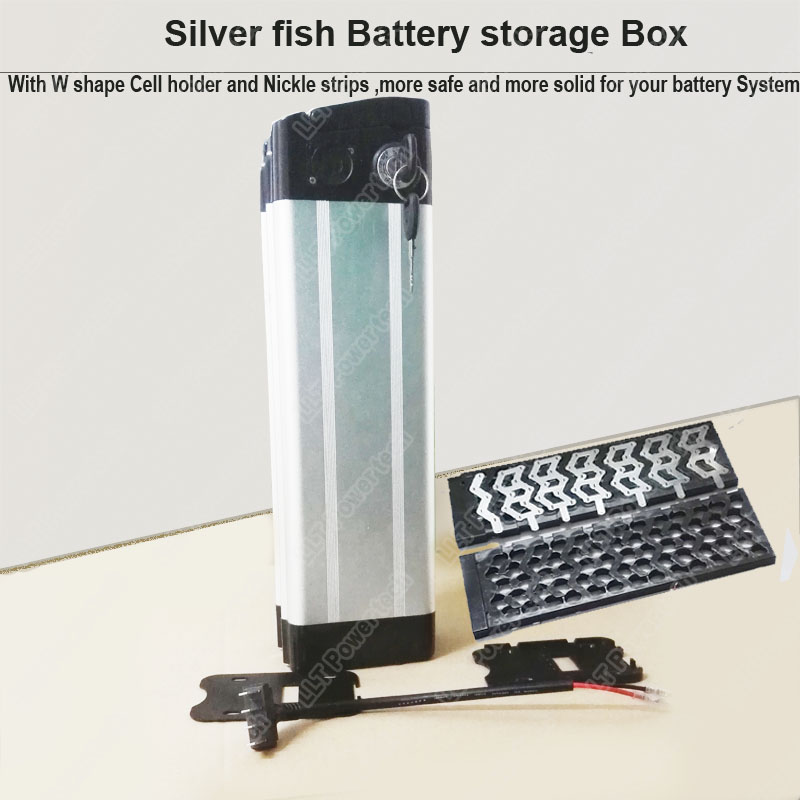 48V Silver fish e bike li ion battery storage box and bicycle 18650 lithium cell holder