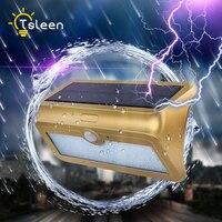 TSLEEN 2x LED Solar Lamp 3 Modes PIR Motion Sensor Garden Light Wall Lamp For Outdoor