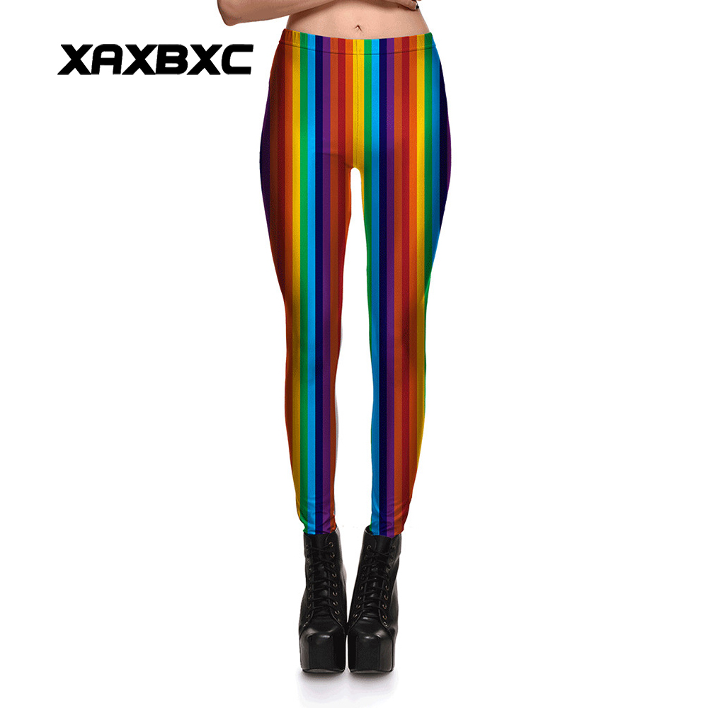 New 3769 Sexy Girl coloured ribbon Rainbow Stripes Prints Elastic Slim Fitness Workout Women Leggings Pants Trousers Plus Size ...