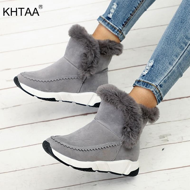 1c606591f09f Flock Femmes Hiver Cheville Chaussures gris De Bottes Noir forme Compensés  Épais Slip Plate Chaud Talons ...