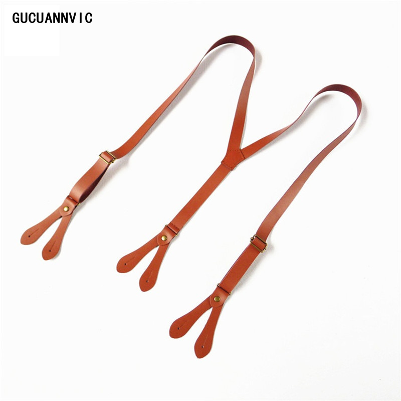 GUCUANNVIC New Full Leather Button Three Color Suspenders Wild Men And Women Suspenders Wide 2CM  Mens Brace