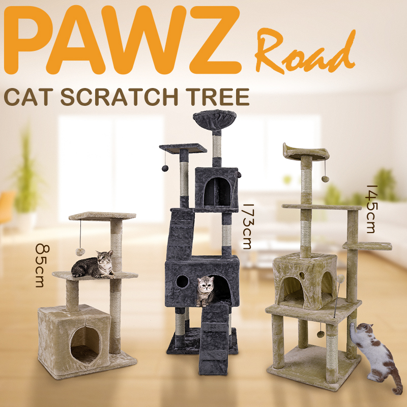 H173CM Cat Tree House with Hanging Ball Kitten Furniture Scratch Solid Wood for Cats Climbing Frame