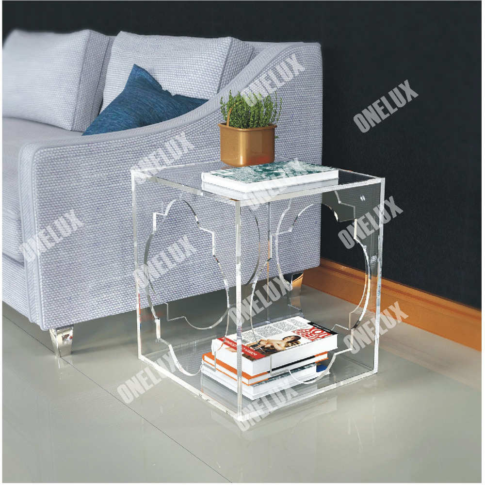 Hollowed Acrylic book/magazine/coffee/tea table ,Lucite Plexiglass engraved side/end/sofa/corner Tables ONE LUX hot sale c shaped waterfall acrylic occasional side table