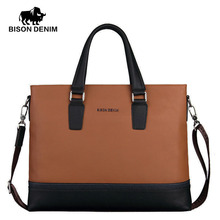 BISON DENIM fashion men bag genuine leather handbag shoulder bags business briefcase laptop