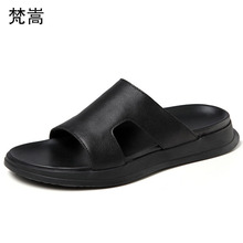 One-word drag men outside summer anti-skid Sandals Personality Korean version fender genuine leather slippers