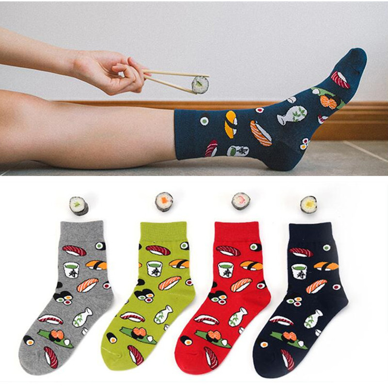Harajuku Funny Sushi Socks Japanese Creative Cartoon Crew Socks Women Novelty Calcetines Mujer Sokken Female Girl Cute Socks