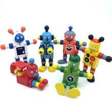 Новинка, деревянная игрушка-робот, обучающая трансформация, красочная деревянная игрушка для ребенка, подарок, подвижные игрушки-роботы