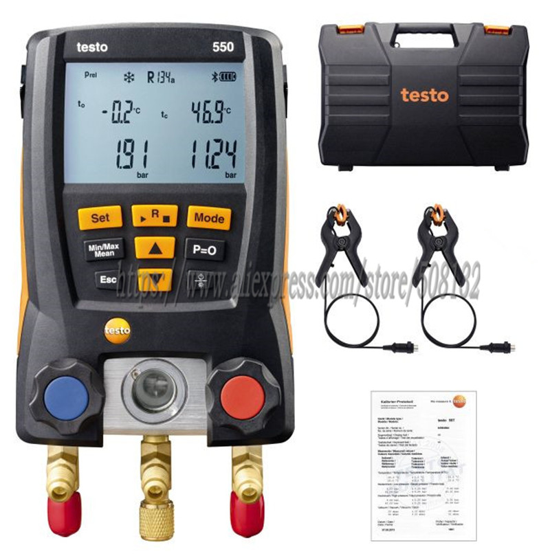 Testo 550 Digital Manifold Gauge Meter Kit With Bluetooth / APP 0563 1550, With 2pcs Clamp Probes,case(China)