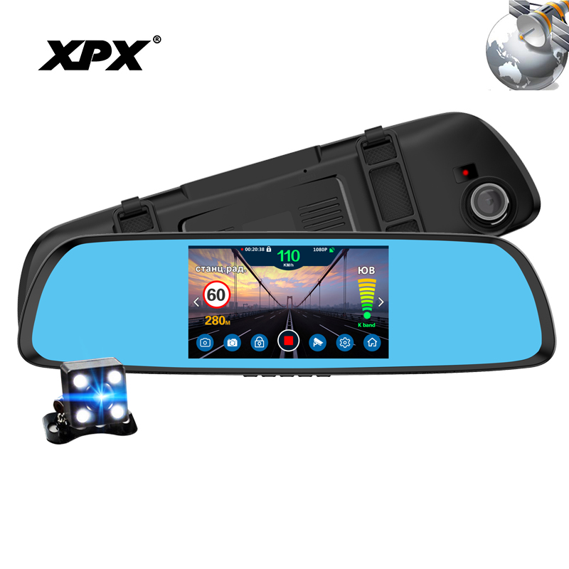 цена на Dash cam Car camera XPX P616 Car DVR 3 in 1 GPS Radar DVR Rear view camera FHD 1080P DVR mirror Reverse camera Dashcam