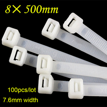 100 stks/pak 8*500mm Multifunctionele Zelfsluitende Kabelbinders Nylon Zip Wire Tie Wraps heavy Duty Sterke en duurzaam