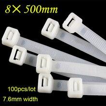 100 sztuk/paczka 8*500mm uniwersalny samoblokujący opaski kablowe nylonowy zamek błyskawiczny drutu krawat okłady heavy Duty mocne i trwałe