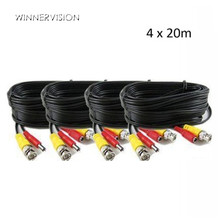 4PCS 20m BNC+DC cctv cable Plug and Play for Analog AHD Camera DVR BNC Video Power Cable cctv 2in1 cable DHL Freeshipping