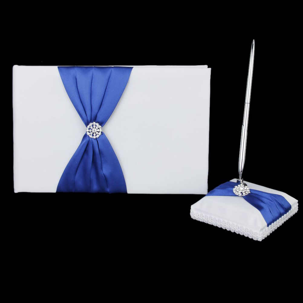 Rhinestone Decorated Wedding Guest Book+Pen+Pen Stand+Ring Pillow+Flower Basket Set (White+Royal Blue)